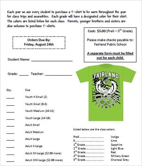 Family T-Shirt Order Form Template