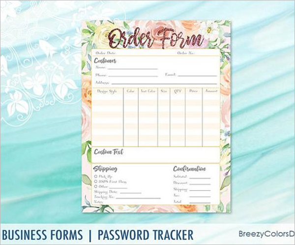 Floral T-Shirt Order Form Template
