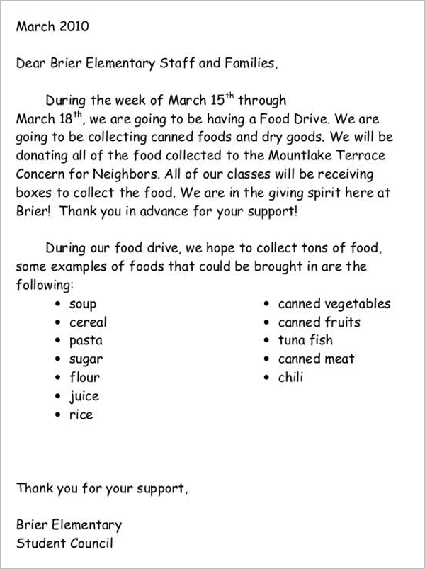 Food Donation Letter Template
