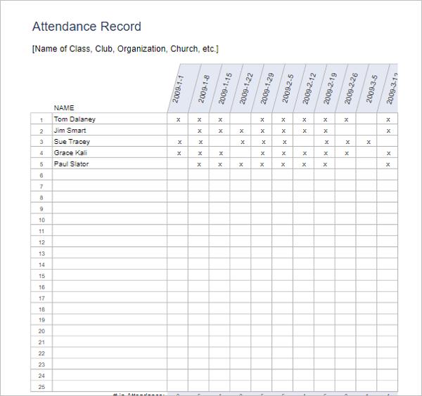 Free Attendance Sheet Template