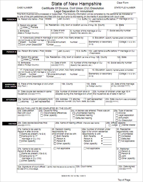 Free Certificate Of Divorce Form