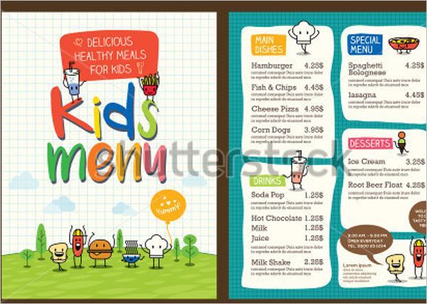 Free Children Menu Design