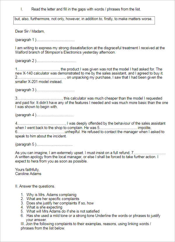 Free Complaint Letter Template