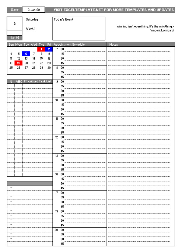 Free Daily Worksheet Template