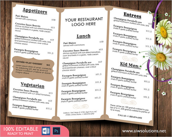 15 french menu templates free word templates for French brochure template