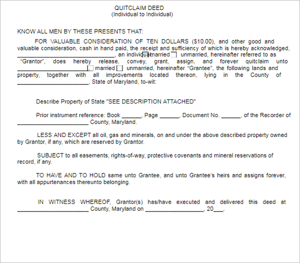 Free Quit Calm Deed Form