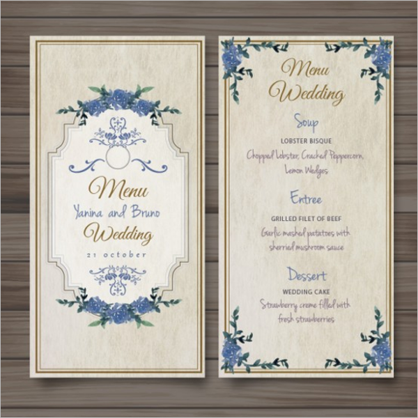 Free Wedding Menu Template Images Template Design Ideas