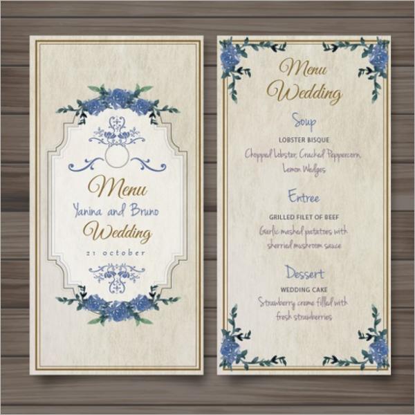 Free Wedding Menu Design