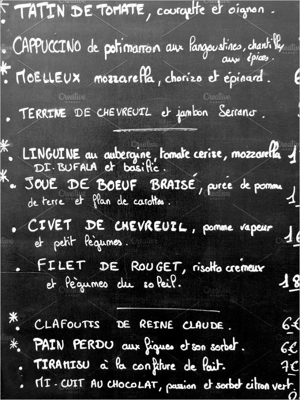 French Restaurant Menu Items