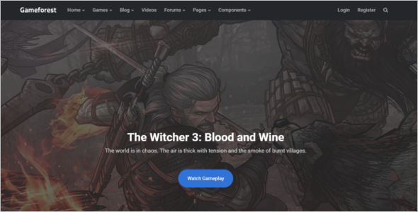 Gaming Website Theme HTML