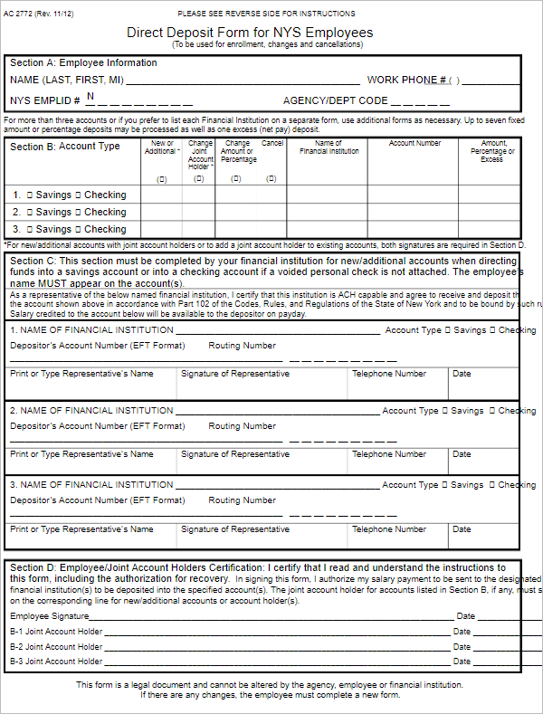 Generic Direct Deposit Authorization Form