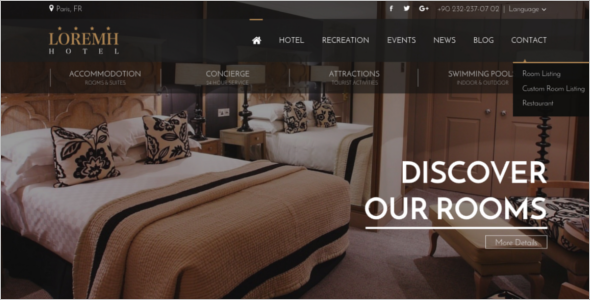 Gold Hotel Website Template