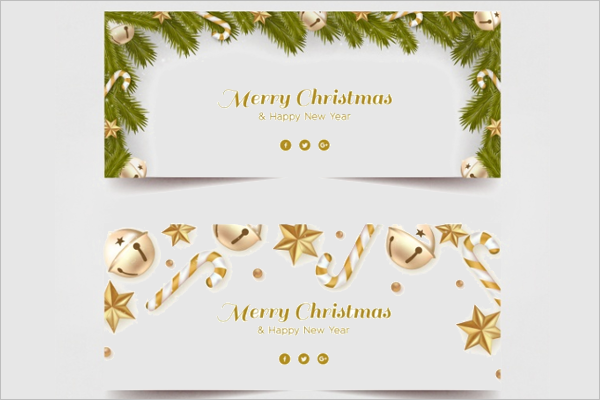 Golden Decoration Christmas Banner Template