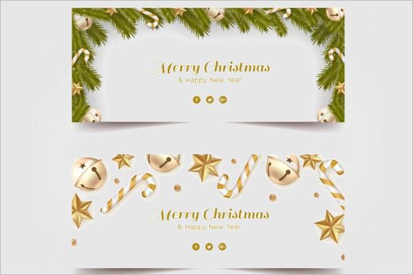 Golden Decoration Christmas Banner Template