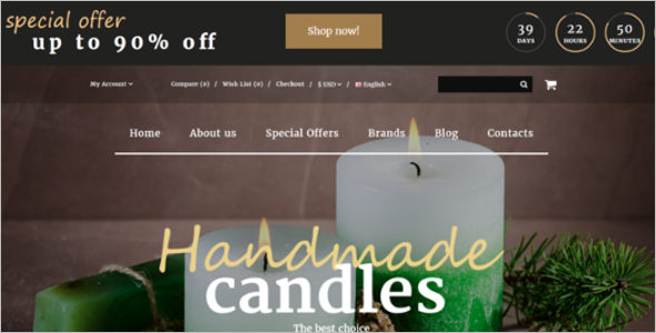 Handmade Candles Online Store Website Template