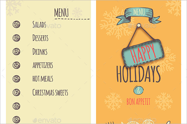 Happy Holidays Christmas Menu Template