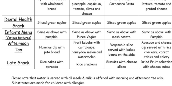 Healthy Daycare Menu Template