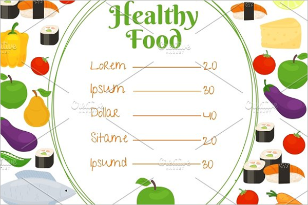 Healthy Food Price Menu Template