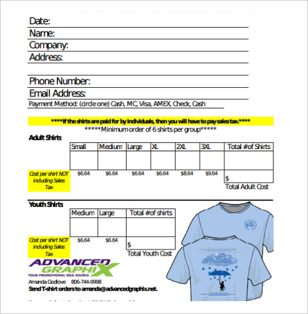 24 t shirt order form templates free word pdf excel for T shirt pricing calculator excel