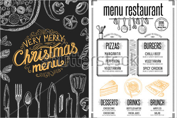 Holiday Menu Vector Template