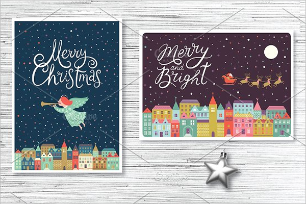 Horizontal Christmas Postcard Design
