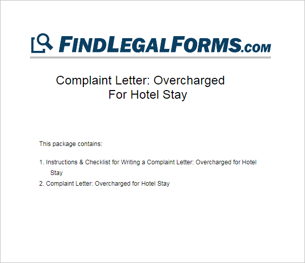 Hotel Complaint Letter Template