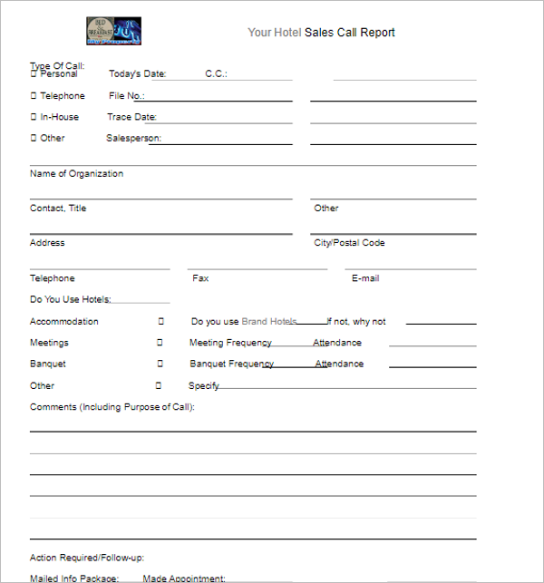 Hotel Sales Report Template