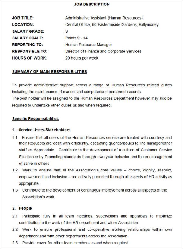 Hr Job Description Template