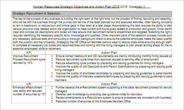 Human Resources Objectives Template