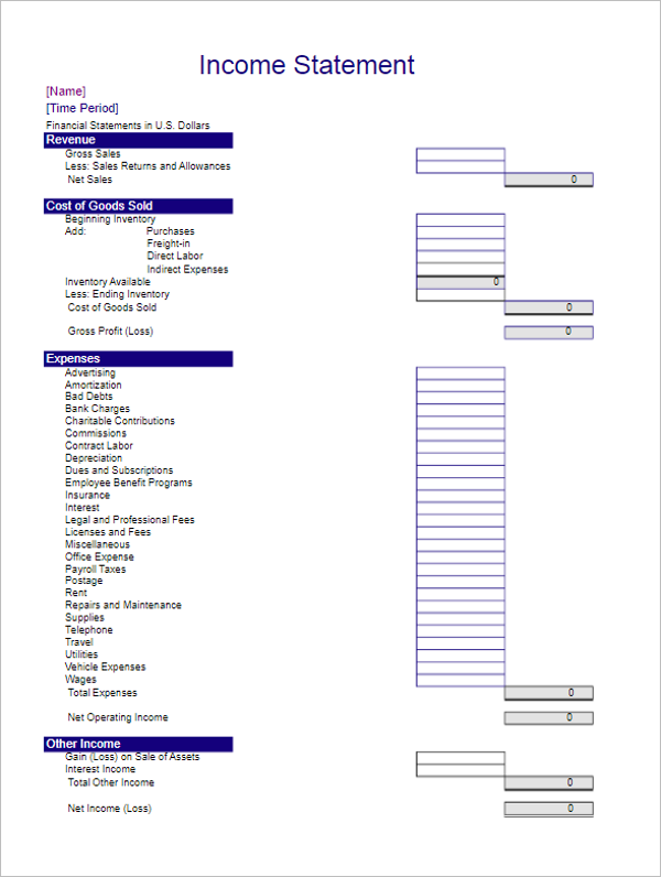 Income Statement Template Example