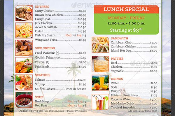 Island Food Price Menu Illustrator Template