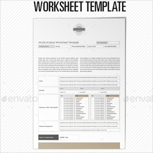 Job Analysis Worksheet Template