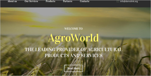Jquery Agriculture Website Template