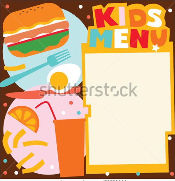Kids Blank Menu Template