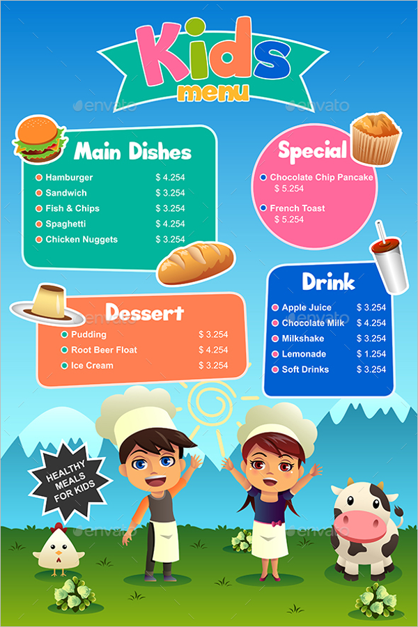Kids Meal Menu Design
