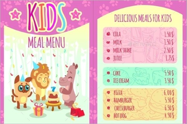 Kids Menu Farm Template