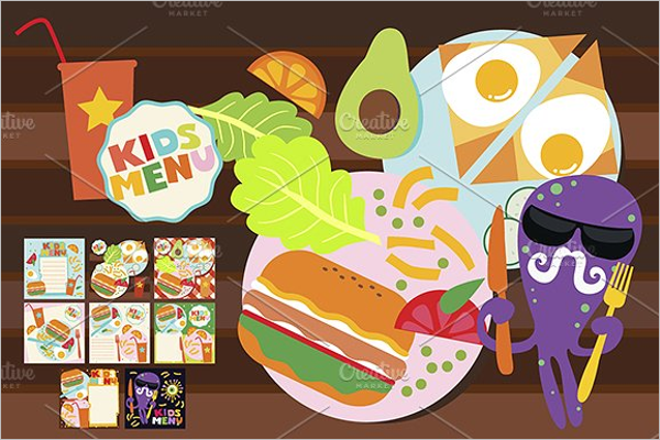 Kids Menu PSD Design