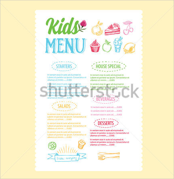 Example Kids Menu Template  Kids Menu Templates