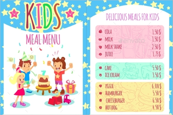 Kids Menu Vector Design