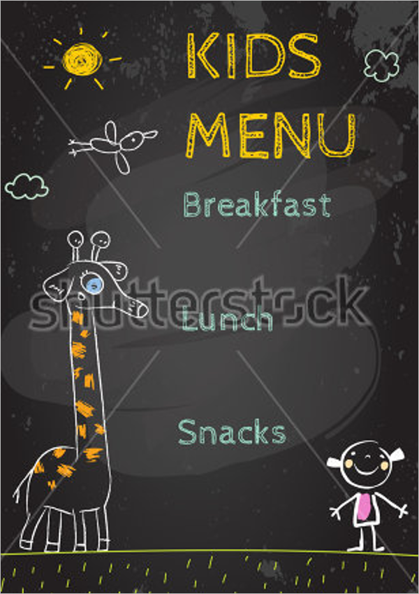 Kids Menu on Chalkboard Template