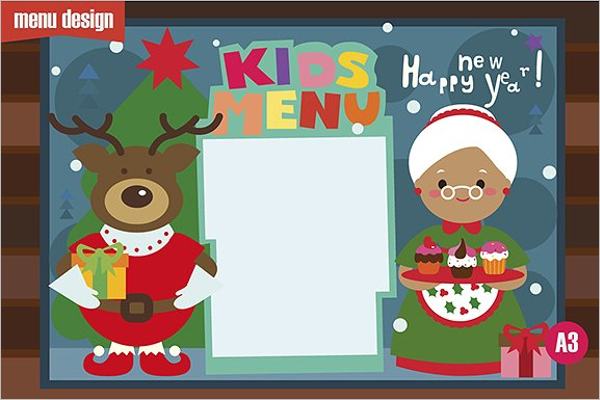 Kids menu Christmas character Design