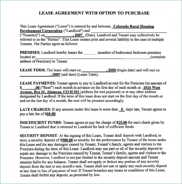 Lease Agreement Vehicle