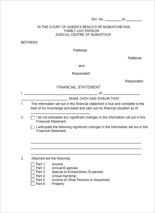 Legal Financial Statement In Word