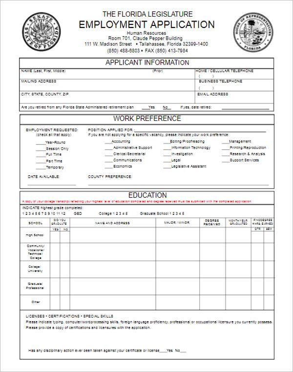 Legislature Employment Application Form