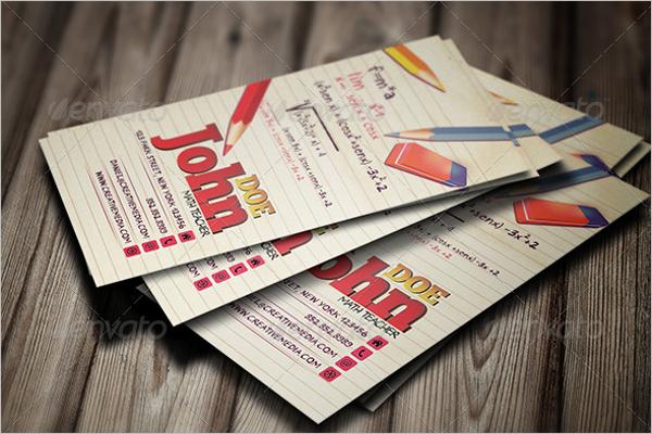 Mathematics Teacher Business Card