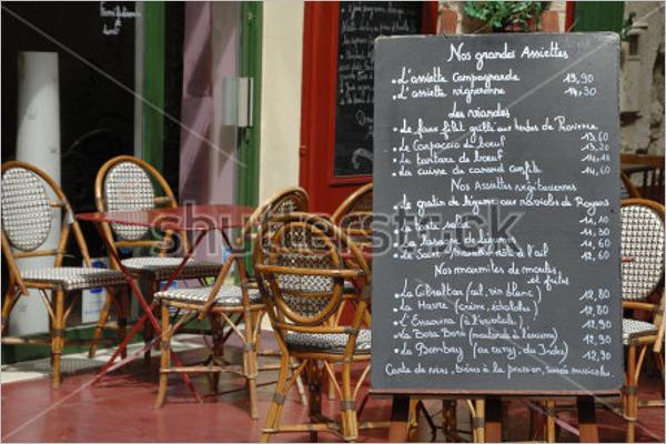 Menu Board In French Restaurant