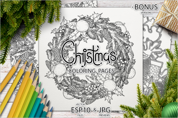 Modern Christmas Coloring Pages