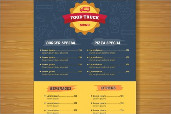Modern Food Truck Menu Template
