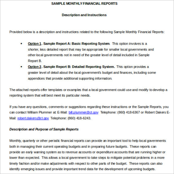 Monthly Financial Report Template  Monthly Financial Report Sample