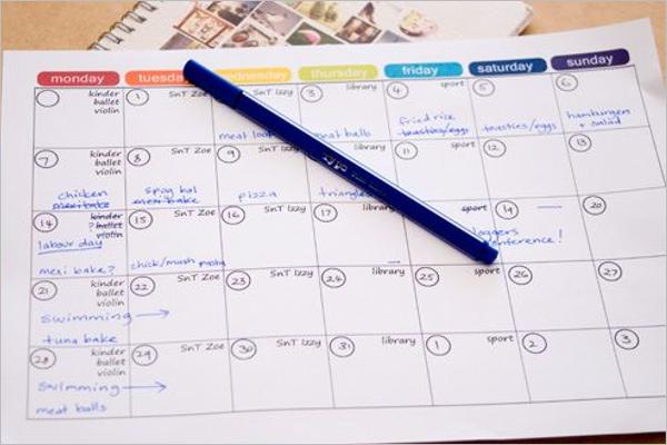 Monthly Planner Menu Excel